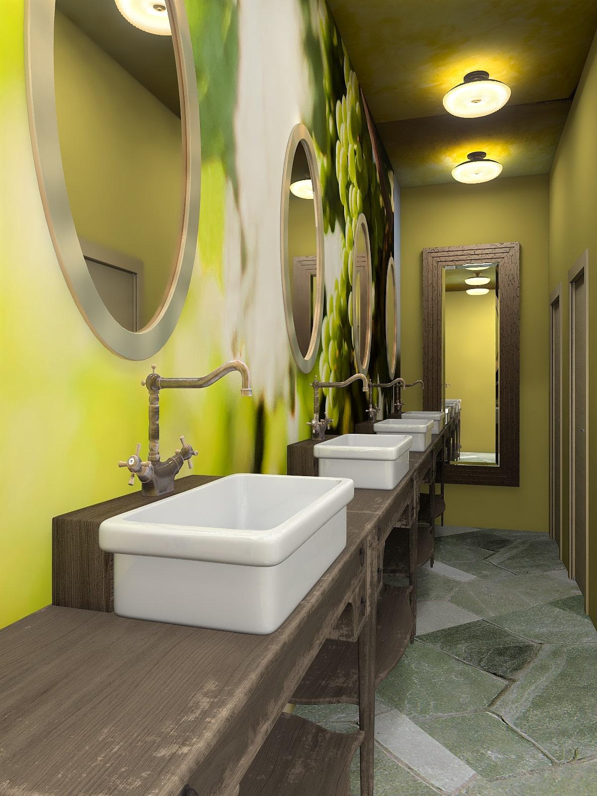 Restaurant toilets interior